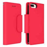 Avizar Étui iPhone 6 Plus 6S Plus 7 Plus 8 Plus Détachable Porte cartes rouge