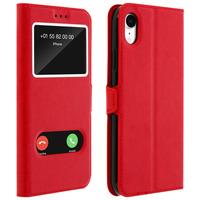 AVIZAR HOUSSE APPLE IPHONE XR ETUI DOUBLE FENÊTRE COQUE SILICONE - ROUGE