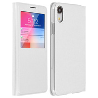 AVIZAR HOUSSE APPLE IPHONE XR ETUI CLAPET FENÊTRE COQUE POLYCARBONATE - BLANC