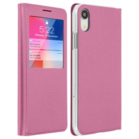 AVIZAR HOUSSE APPLE IPHONE XR ETUI CLAPET FENÊTRE COQUE POLYCARBONATE - ROSE