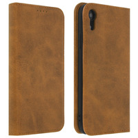 Avizar Housse iPhone XR Étui Porte-cartes Fonction Support Coque Silicone Gel camel