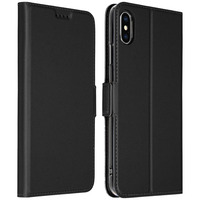 Avizar Housse iPhone XS Max Etui Folio Portefeuille Satiné Fonction Support - Noir