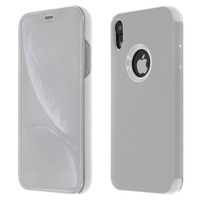 Avizar Housse Apple iPhone XR Etui Folio Miroir Ultra-fine Clapet Translucide - Argent