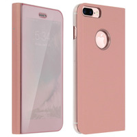 Avizar Housse iPhone 7 Plus / iPhone 8 Plus Etui folio Miroir Fonction Stand - Rose