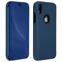 Avizar Housse Apple iPhone XR Etui Folio Miroir Ultra-fine Clapet Translucide - Bleu