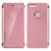 Avizar Housse Etui Folio Miroir Rose iPhone 7 Plus / iPhone 8 Plus Clapet translucide