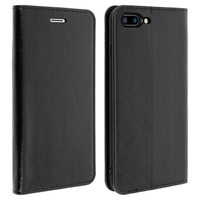 Avizar Etui iPhone 7 Plus / iPhone 8 Plus Housse Cuir Clapet Portefeuille - Noir