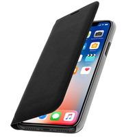 Avizar Housse iPhone X / XS Etui Portefeuille Flip Cover Protection Porte carte - Noir