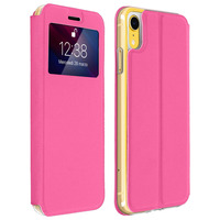 AVIZAR HOUSSE APPLE IPHONE XR ETUI FENÊTRE FENTE-CARTE COQUE SILICONE GEL - ROSE