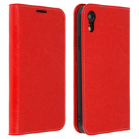 Avizar Étui Apple iPhone XR Housse Cuir Portefeuille Fonction Support - rouge