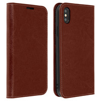 Avizar Étui Apple iPhone XS Max Housse Cuir Portefeuille Fonction Support - marron
