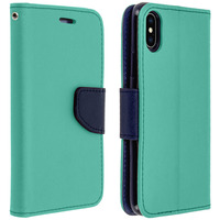 AVIZAR HOUSSE APPLE IPHONE X / XS ETUI PORTE-CARTE FONCTION STAND FANCY STYLE TURQUOISE