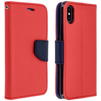 AVIZAR HOUSSE APPLE IPHONE XS MAX ETUI PORTE-CARTE FONCTION STAND FANCY STYLE - ROUGE