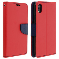 AVIZAR HOUSSE APPLE IPHONE XR ETUI PORTE-CARTE FONCTION STAND FANCY STYLE - ROUGE