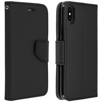 Avizar Housse Apple iPhone XS Max Etui Porte-carte Fonction Stand Fancy Style - noir