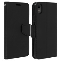 Avizar Housse iPhone XR Etui clapet Porte-carte Fonction Stand Fancy Style - Noir