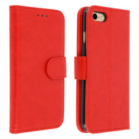 Avizar Housse iPhone 7 / iPhone 8 Etui Clapet Porte carte Fonction support - rouge