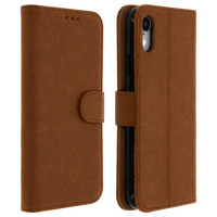 AVIZAR HOUSSE APPLE IPHONE XR ETUI CLAPET PORTE-CARTE FONCTION SUPPORT VIDÉO MARRON