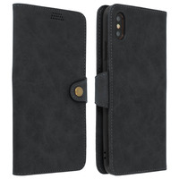 Avizar Housse Apple iPhone XS Max Etui Folio Portefeuille Vintage Stand Video Grise