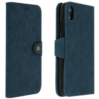 Avizar Housse Apple iPhone XR Etui Portefeuille Porte-carte Vintage Support Stand Bleu
