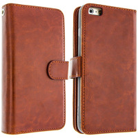 Avizar Housse Etui Folio Portefeuille pour Apple iPhone 6 - Marron
