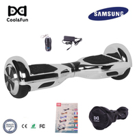 COOL&FUN COOL&FUN HOVERBOARD GYROPODE 6.5POUCES ZILVER CHROME AFSTANDSBEDIENING + TRANSPORTTAS