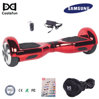COOL&FUN COOL&FUN HOVERBOARD GYROPODE 6.5POUCES ROOD CHROME AFSTANDSBEDIENING + TRANSPORTTAS