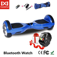 COOL&FUN  HOVERBOARD, GYROPODE 6.5 INCHES BLEU + MONTRE CONNECTEE OFFERTE