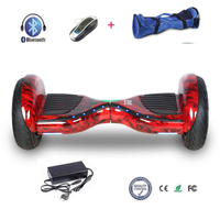 COOL&FUN  HOVERBOARD BLUETOOTH TOUT TERRAIN 10 POUCES HORSEBOARD ROUGE FLAME FLASH LED
