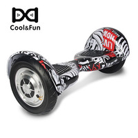 COOL&FUN  HOVERBOARD BLUETOOTH GYROPODE 10 INCH ZWART-CARBON SCHEDEL-ROOD STIJL