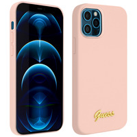 GUESS COQUE IPHONE 12 PRO MAX SILICONE GEL SOFT TOUCH GUESS SILICONE SCRIPT ROSE