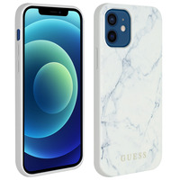 GUESS Coque iPhone 12 / 12 Pro Effet Marbres Rigide Marble Cover Guess Blanc