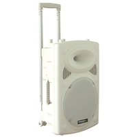 Ibiza 800W DRAAGBAAR STAND-ALONE PA SYSTEEM MET USB-MP3, BT, REC, VOX  & 2 X VHF MICROFOONS  (PORT15UHF-BT-WH)
