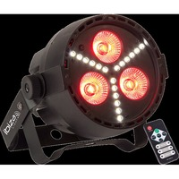IBIZA PROJECTEUR PAR A LED RGBW 4-EN-1 AVEC STROBOSCOPE A LED SMD (PAR-MINI-STR)