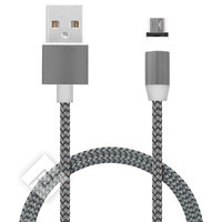 MOBIPARTS MAGNETIC MICRO USB/USB CABLE 1.5A DARK GREY 1M