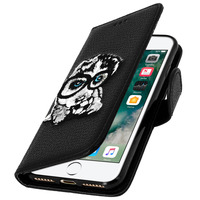 MOCCA ETUI IPHONE 7 / 8 HOUSSE FOLIO BRODÉE CHIEN PROTECTION FONCTION STAND - NOIR