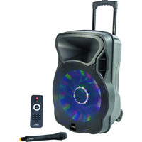Party ENCEINTE PORTABLE 38cm - 800W AVEC USB, BLUETOOTH, FM et MICRO VHF  (PARTY-15LED)