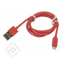 Câble USB pour smartphone ou tablette CABLE LIGHTNING 1M RED