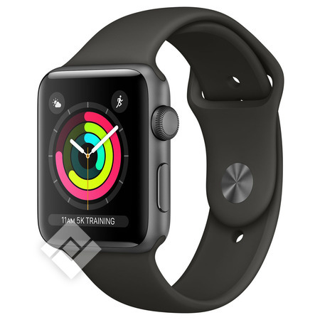 APPLE WATCH SERIES 3 2017 GPS 38MM SPACE GRAY ALUMINUM CASE GRAY SPORT BAND