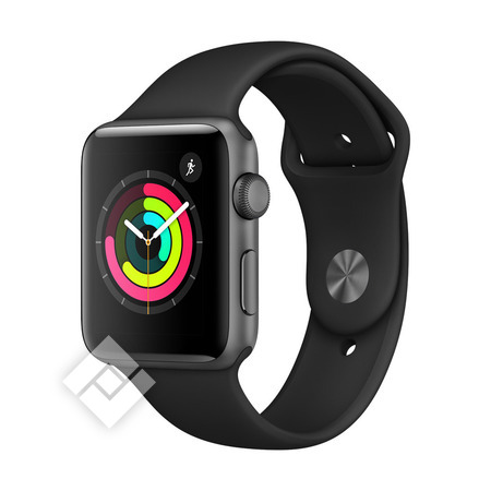 APPLE WATCH SERIES 3 2018 GPS 42MM SPACE GRAY ALUMINUM CASE BLACK SPORT BAND