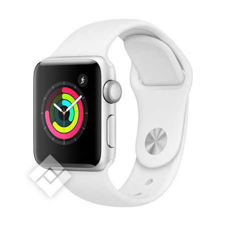 APPLE WATCH SERIES 3 2018 GPS 38MM SILVER ALUMINUM CASE WHITE SPORT BAND