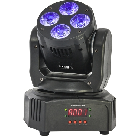 IBIZA DMX-BESTUURDE WASH MOVING HEAD RGBWA-UV 6-IN-1 (LMH-MINIWASH)