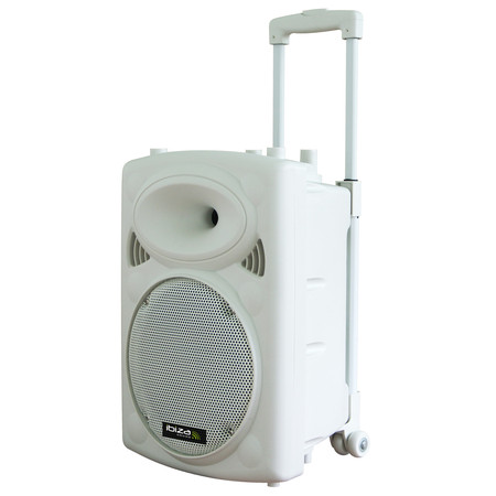 IBIZA DRAAGBAAR STAND-ALONE PA SYSTEEM 25CM MET USB-MP3, BT, REC, VOX, 1 VHF & 1 BEDRADE MICROFOON (PORT10VHF-BT-WH)