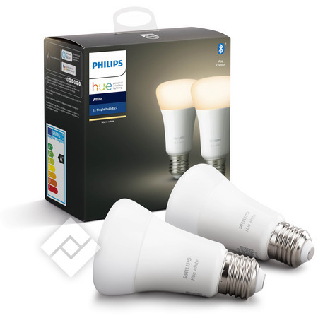 PHILIPS Ampoule led HUE WHITE 9W A60 E27 2P