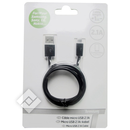 TEMIUM CABLE MICRO USB 2.1A